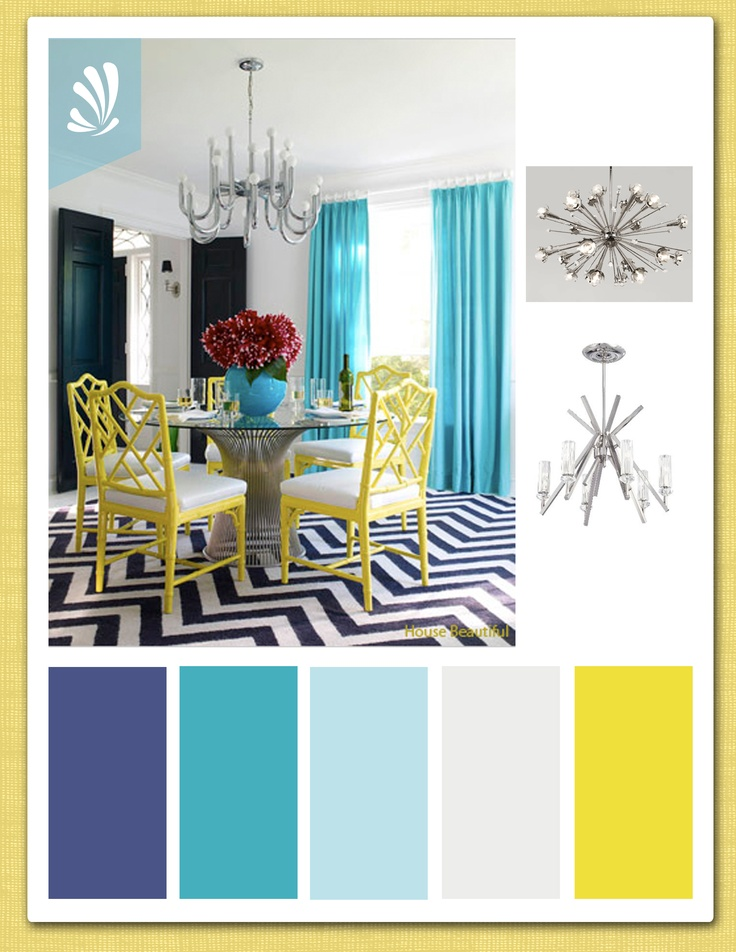 Contemporary teal, blue and yellow color palette. www.stylyze.