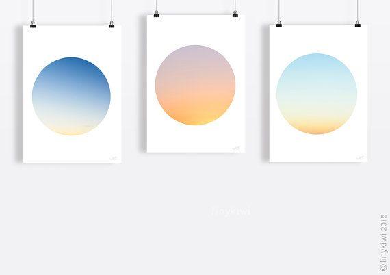 Blue sky art print, Nursery wall art, DIT Art, Instant download art, Contemporary, Minimal art, Circle art Modern art print, Fine art print,