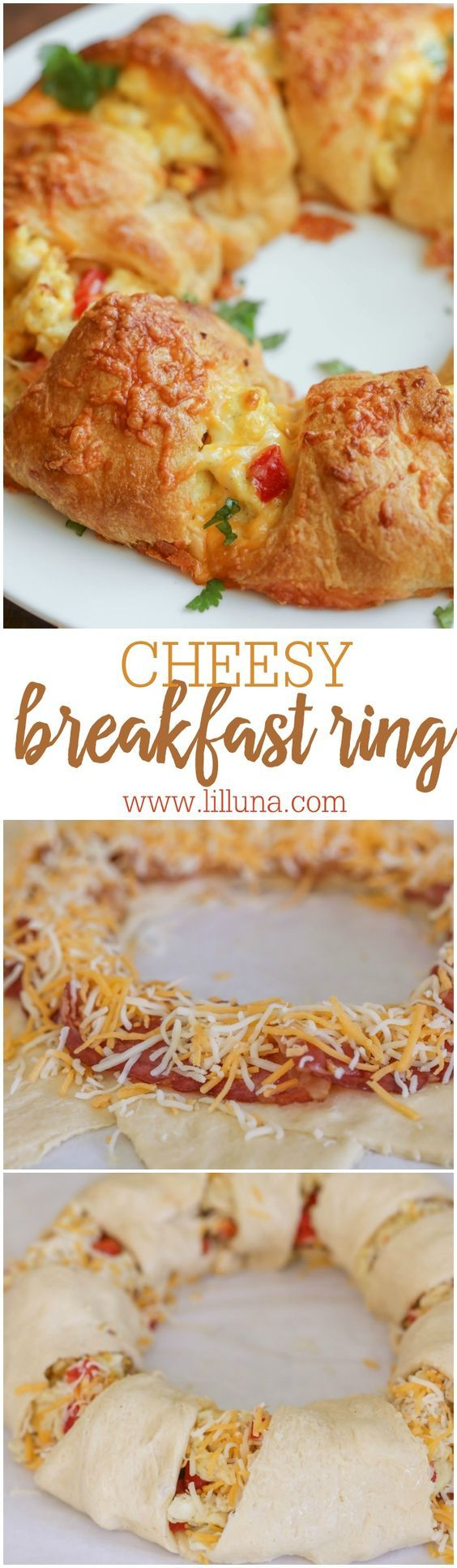 Cheesy Breakfast Ring - delicious cheesy, bacon and pepper-filled eggs inside a ring of delicious crescent roll dough. Its our new favorite breakfast recipe!