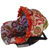 Autumn Blossoms Cotton Infant Car Seat Cover with Matching Neck Strap Set. $84.95, via Etsy.