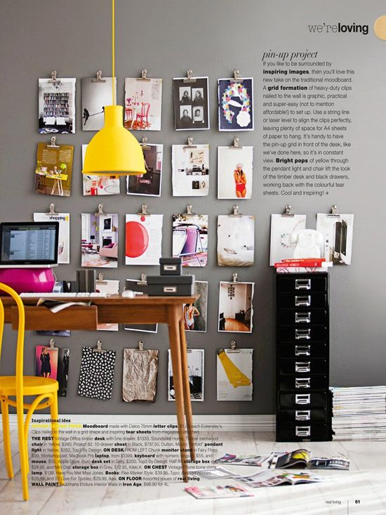 Color contrast with gray and yellow. Via Poppytalk, Real Living Mag, styling erin michael | photo maree homer