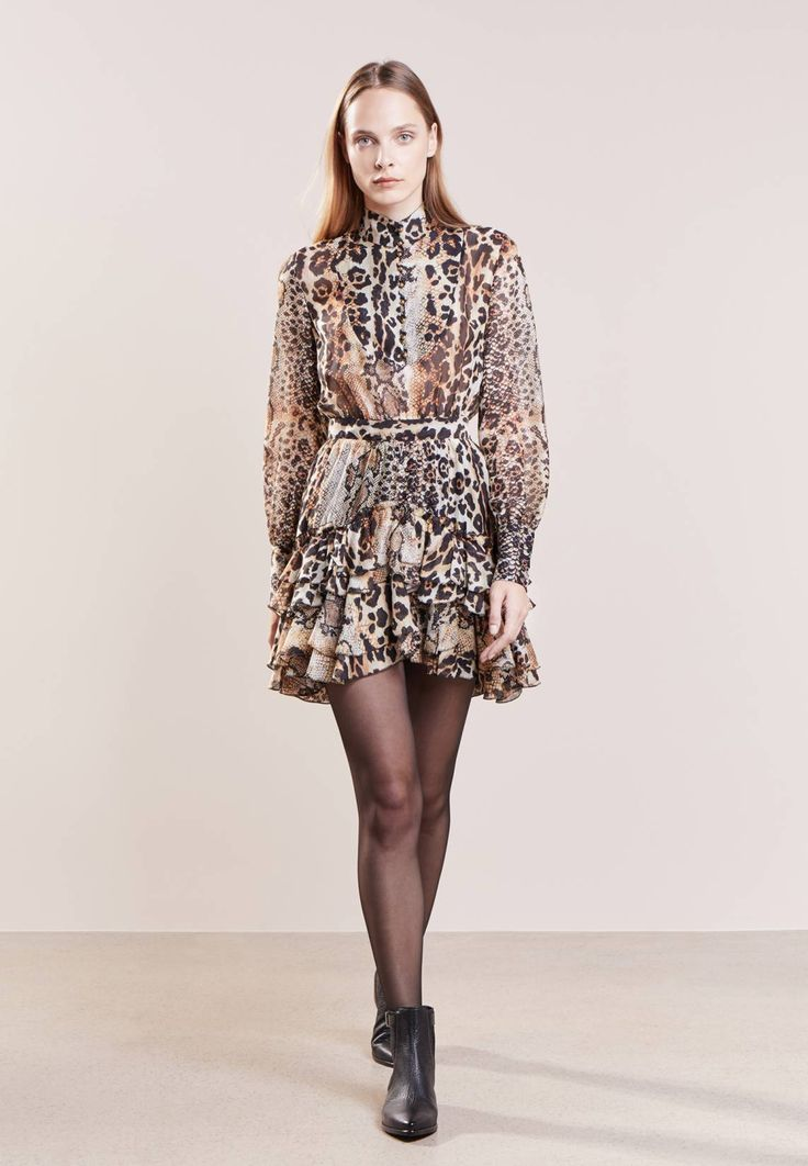 """Just Cavalli. Summer dress - beige. Outer fabric material:100% silk. Pattern:animal print. Care instructions:Dry clean only. Sleeve length:long,26.5 """" (Size 10). Back width:14.5 """" (Size 10). Fit:tailored. Our model's height:Our model..."""