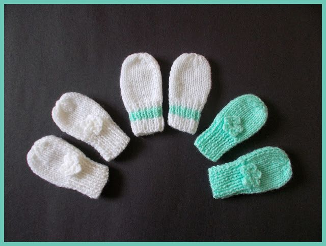 0-3 months, newborn, preemie  This pattern includes 2 styles of baby mittens.......   One style has a ribbed cuff to ensure a snug fitThe second style has a garter stitch border - and includes a rib
