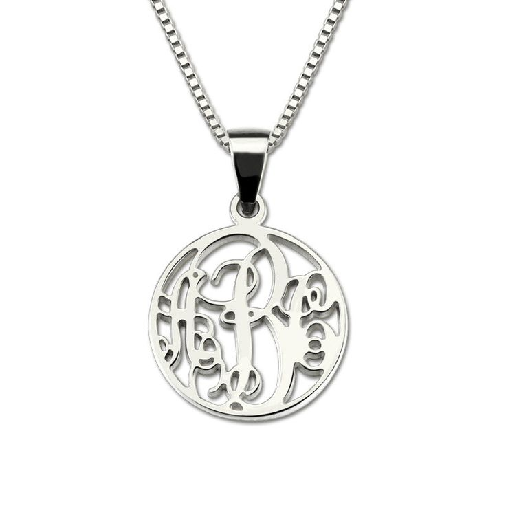 Monogram Small Circle Silver Necklace