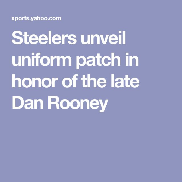 Steelers unveil uniform patch in honor of the late Dan Rooney  https://www.yelp.com/biz/megan-physical-therapy-and-rehabilitation-center-philadelphia