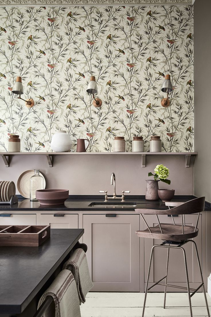 Wallpaper: Great Ormond Street – Signature Kitchen units painted in: Dolphin 246