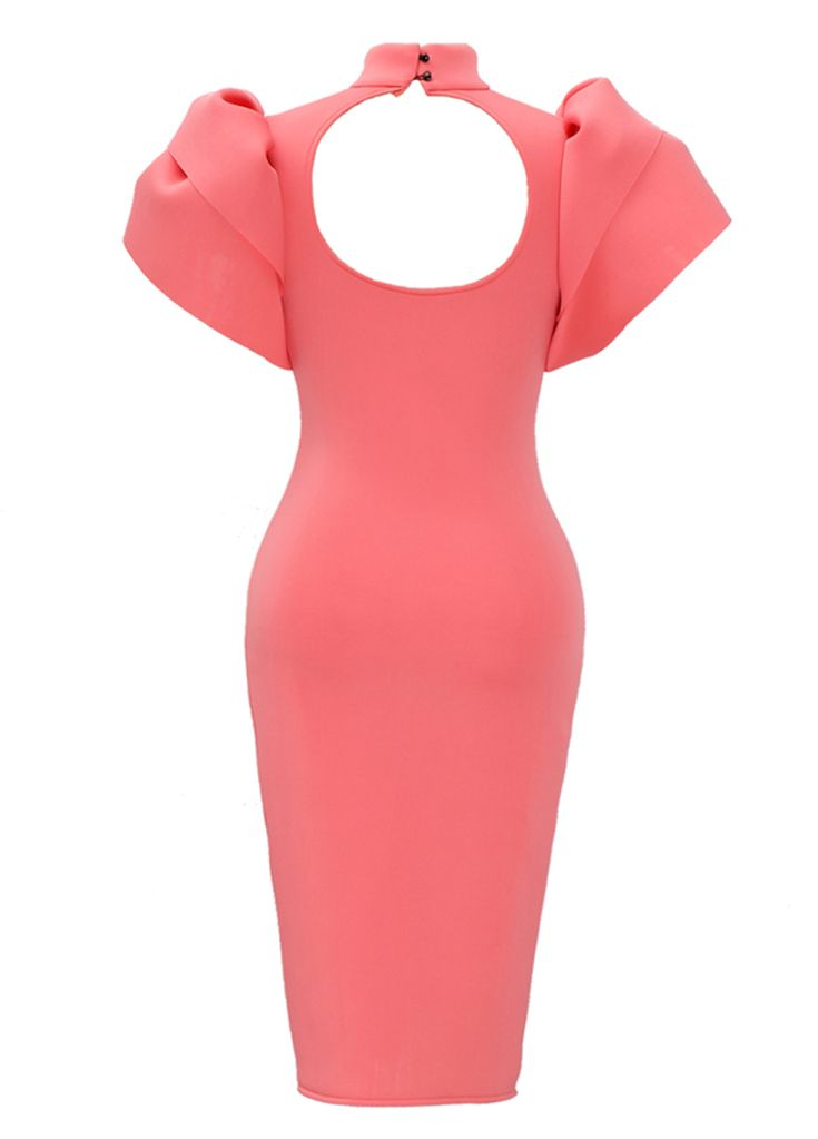 Pink Ruffle Sleeve Daring Back Bodycon Dress_Midi Dress_Dresses_Sexy Lingeire | Cheap Plus Size Lingerie At Wholesale Price | Feelovely.com