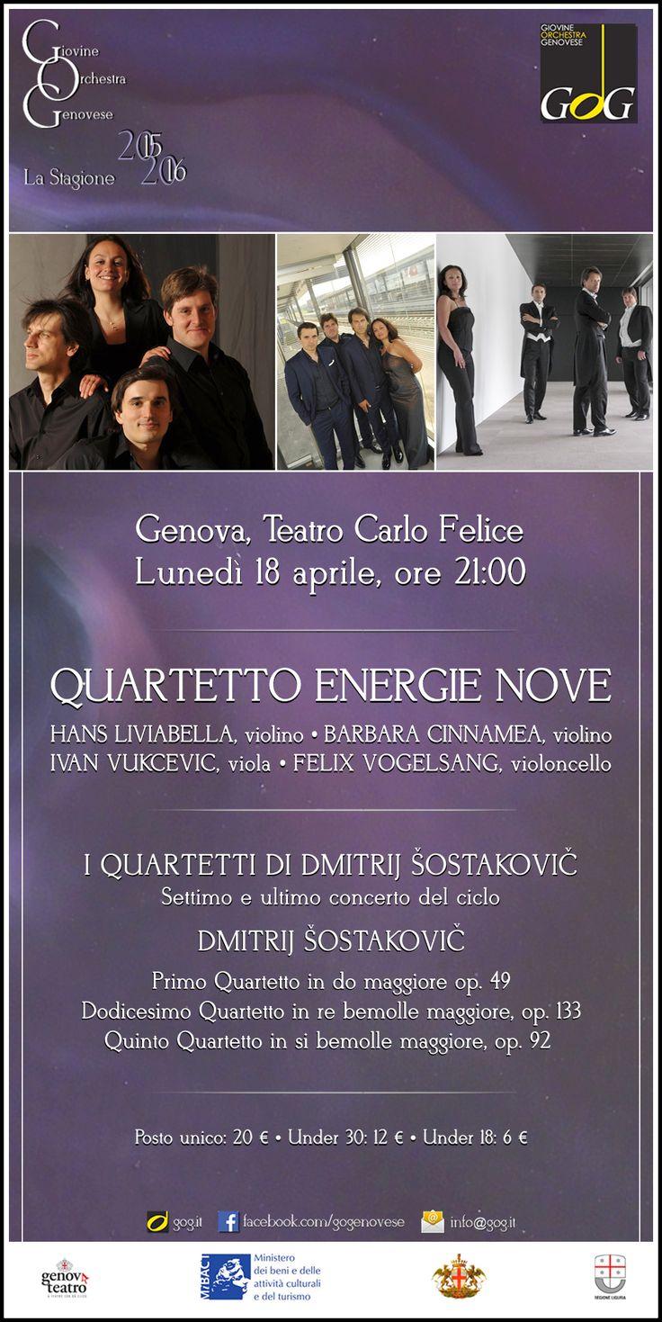 Quartetto Energie Nove   I Quartetti di Šostakovič   Lunedì 11 aprile 2016, Teatro Carlo Felice, #Genova #gog1516