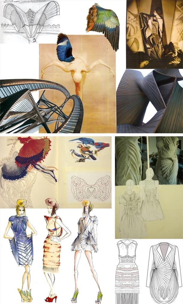 "Fashion Sketchbook drawings & fashion design development - fashion architecture & fabric manipulation experimentation // Mark Goldenberg, final project, ""Woven Bird"""