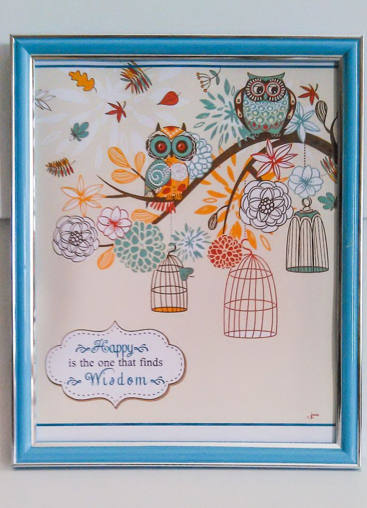 Proverb Wise Owl Quote Framable Print Happy is the One That Finds Wisdom by ThreeLadiesImagine on Etsy