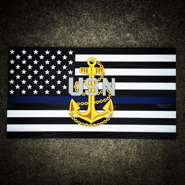 Beautiful handcrafted 3D Thin Blue Line wood flag with raised Navy Chief…
