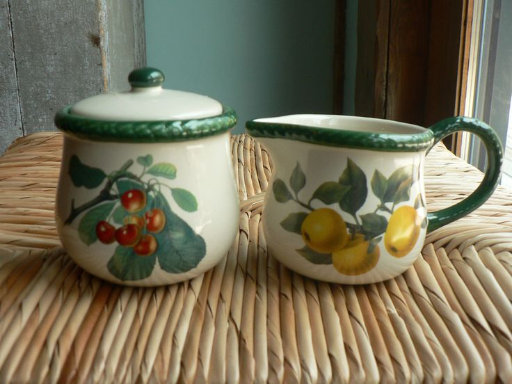 Hawthorne Manor Creamer w/ Yellow Apples & Covered Sugar Bowl w/ Cherries   eBay