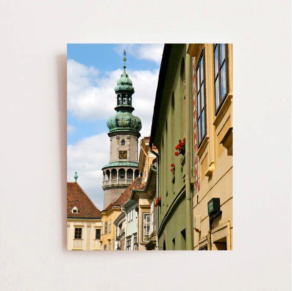 Magyarországon Photography - Sopron Fotók - Magyar Építészeti - Színes Wall Art Print Utazási Fotó Piros Sárga Zöld lakberendezés