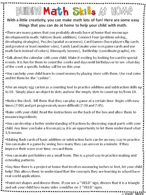 Here's a nice handout for parents on building math skills at home.
