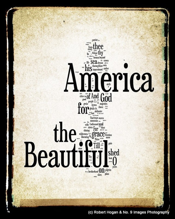 America the Beautiful Lyrics  Patriotic Art  Word par no9images, $30,00