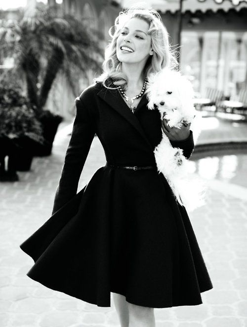 Katherine Heigel: Black Coats, Outfits, Full Skirts, Fashion, Dogs, Style, Katherine Heigl, Little Black Dresses, The Dresses