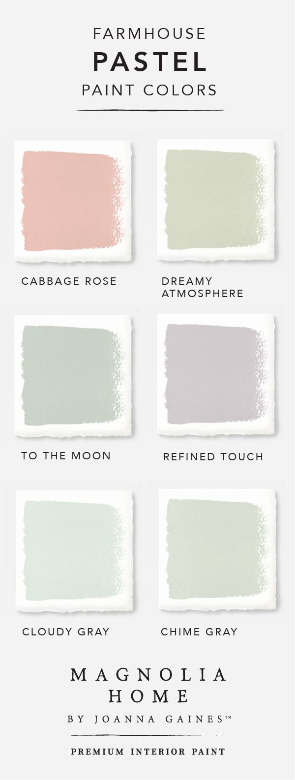 Bring a subtle pop of color into your home with this pastel color palette from the Magnolia Home by Joanna GainesTM paint collection. Cool blues like Dark Moon mix with soothing greens like Stoneware Pieces. Explore the rest of the collection to find more timeless colors and tons of DIY design inspiration.