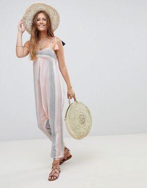 ff5dcfef2a7 ASOS DESIGN Beach Hareem Jumpsuit In Pastel Stripe With Tassel Ties