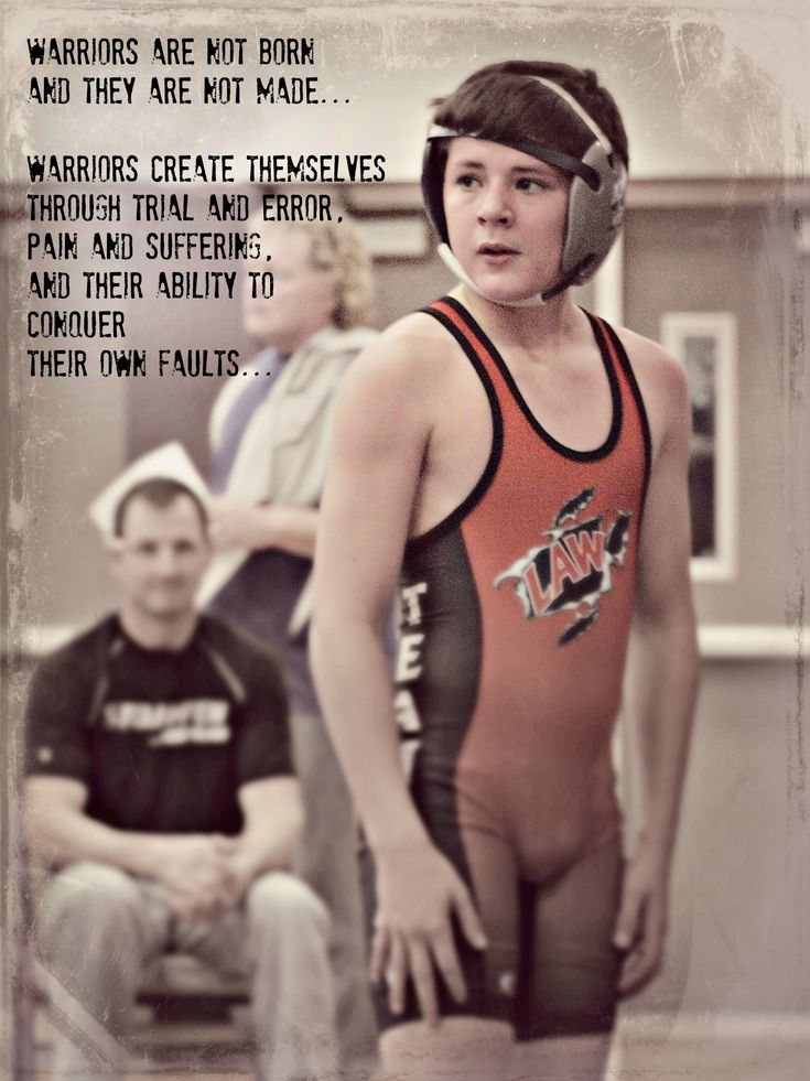 Even though it has wrestling on it, the quote applies to running also. I am a Warrior