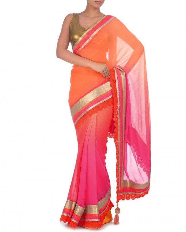 Ombre Hot Pink and Orange Sari with Sequin Blouse - Regalia by Deepika
