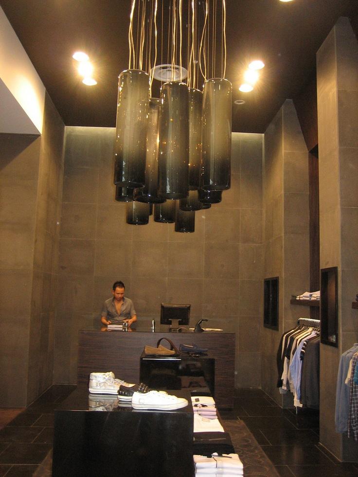 Arthur Galan - Ag Men's Clothing at Doncaster. Custom black tube chandelier.