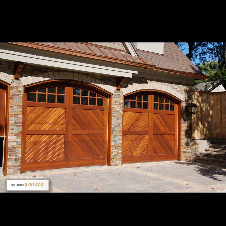 14 best ledgestone images on pinterest terra cotta for Wood veneer garage doors