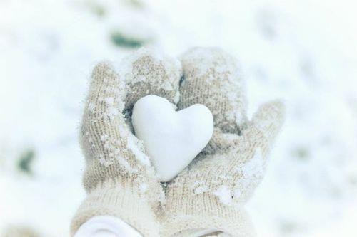 Snow heart outdoors winter heart hands snow gloves