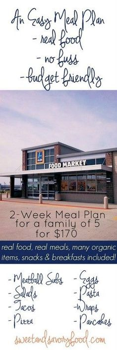 Allys Sweet and Savory Eats: 2-Week Meal Plan for a Family of 5 for $170