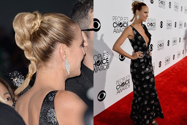 Height is everything - Heidi Klum's hair raising ponytail at the 2014 People's Choice Awards #Celebrity #ModelMoment #HairTrends