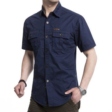 AFSJEEP Outdoor Military Double Pockets Solid Color Casual Short Sleeve Men Cotton Shirt at Banggood