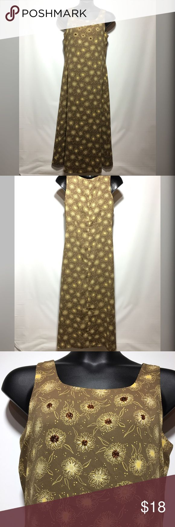 Judith Hart Maxi Dress⬇️ClosetCleanout⬇️ Beautiful golden brown Maxi dress with yellow and cream flowers. This dress is from the Judith Hart Collection and 100% polyester. The back has a small seam that the thread has come lose as seen in last picture..Easily fixed or can be worn as is Judith Hart Dresses Maxi