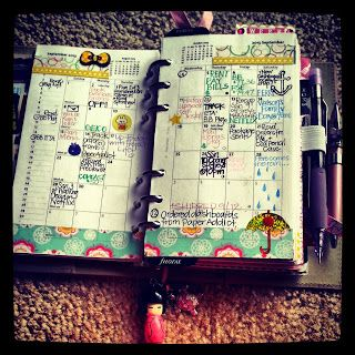 A Crafty Island Girl: Filofax- month on 2 pages: awesome idea of color coding and stickers/washi on days