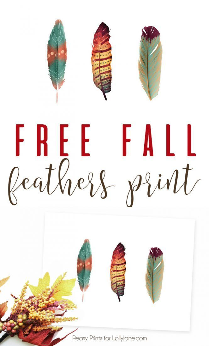 FREE Printable Feathers Art, perfect for a card. bunting, or to frame next to fall decor!
