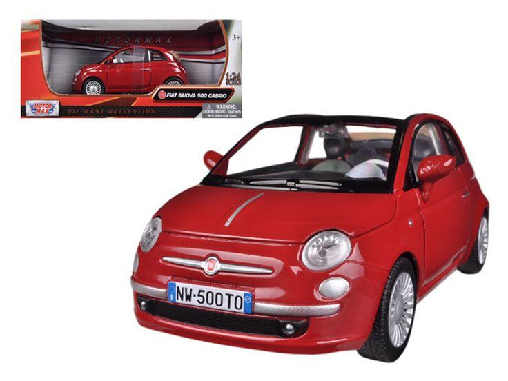 Fiat 500 Nuova Cabrio Red 1/24 Diecast Model Car by Motormax
