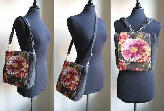 blue crossbody bag steel blue purse womens backpack by daphnenen