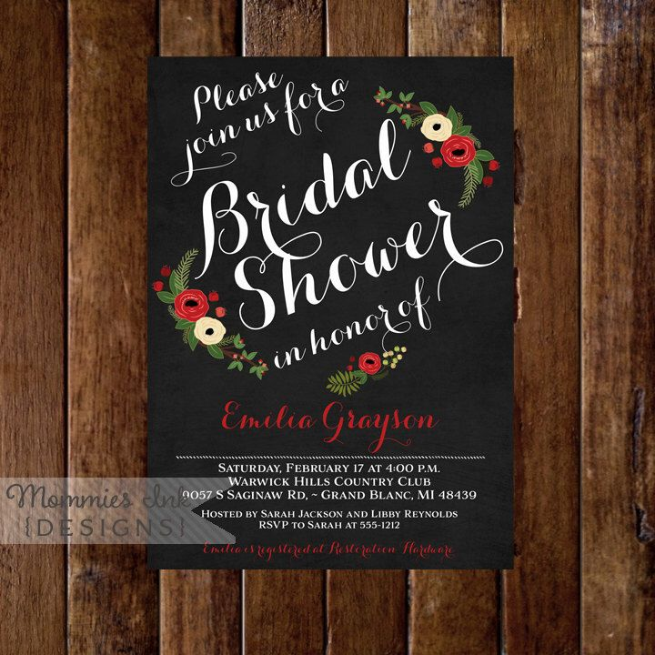 Chalkboard Bridal Shower Invitation - Winter Bridal Shower Invitation- Christmas Bridal Shower Invite - Printable Invitation Design by MommiesInk on Etsy https://www.etsy.com/listing/211182979/chalkboard-bridal-shower-invitation