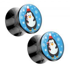 Holiday Penguin Acrylic Christmas Artisan Plugs 2g - 1 - Pair