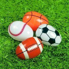 Sports Ball Plastic Easter Eggs - Set of 8 by Mincha. $7.58. Perfect for Easter, Spring Events, or Sports Parties. Set of 8 Sports Themed Easter Eggs. Features: Baseball, Football, Basketball and Soccer Eggs. Kickoff or Hit a Homer this Spring season with our assortment of Sport themed Easter Eggs. Featuring Baseball, Football, Basketball and Soccer, these eggs are perfect for Easter, Spring Events, or Sports Parties. 8 eggs per order, purchase today!