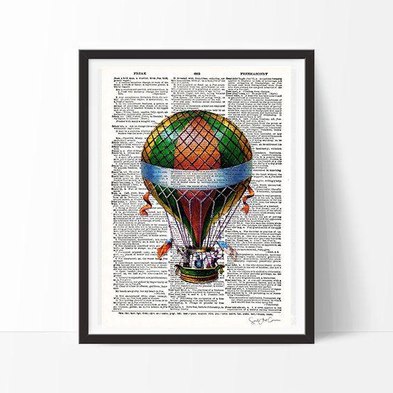 Globo antiguo -  vintage, neo retro, antiguo, Francia, moda, diseño, lámina, diccionario, impresión, decoración, póster, elegante-
