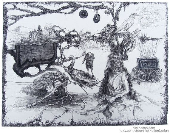 Brothers Grimm Fairy Tale charcoal drawing by Nick Helton Design  https://www.etsy.com/listing/214050863/surreal-surrealism-victorian-fantasy?ref=related-2