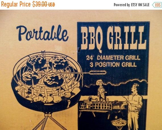 ON SALE 1970's Vintage Charcoal Grill Portable Large
