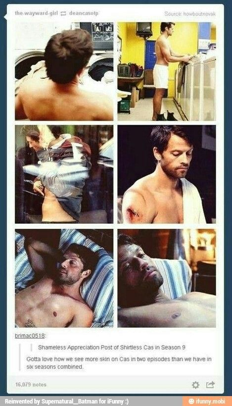 Shirtless!Cas is lovely!