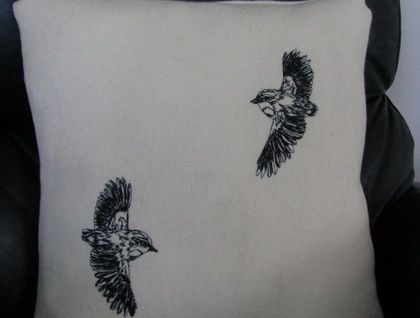 Freehand machine embroidery, by Katherine Bertram  Rifelman+Kiwiana+freehand+embroidered+bird+cushion+cover