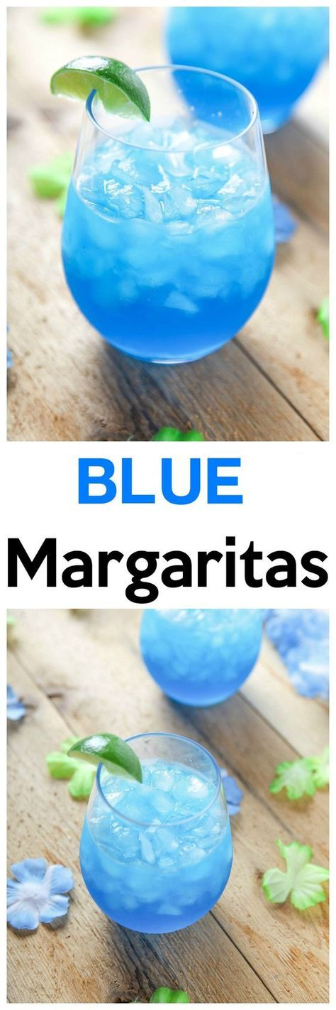 Blue Margaritas: These incredibly refreshing margaritas are SO easy!They only require 4 ingredients, and no blender/cocktail shaker!