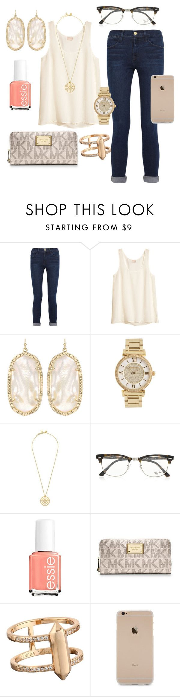 """Untitled #217"" by preppygirl13 ❤ liked on Polyvore featuring Frame Denim, H&M, Kendra Scott, Michael Kors, Tory Burch, Ray-Ban, Essie and MICHAEL Michael Kors"