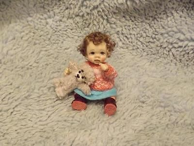 Miniature handmade MINI BABY GIRL TODDLER SCULPT ooak DOLLHOUSE  DOLL HOUSE 1/12