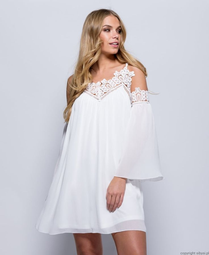 Karen-  biała,rozkloszowa sukienka (boho)