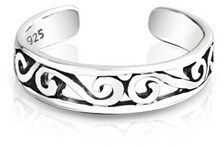 Bling Jewelry 925 Silver Mid Finger Ring Adjustable Celtic Swirl Toe Rings.