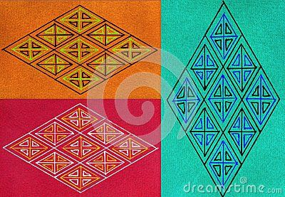 Trio of two horizontal and one vertical hand drawn illustrations of diamond shapes in triangular designs and multiple colors, isolated on orange, red and green backgrounds.