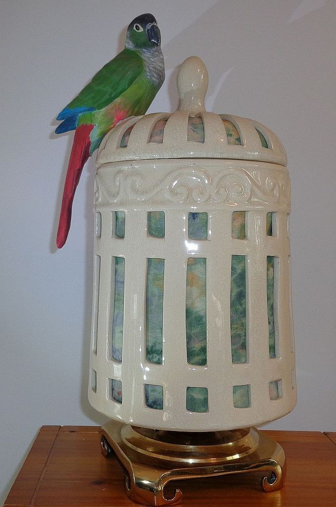 GREEN-CHEEKED CONURE parrot BIRDCAGE LAMP
